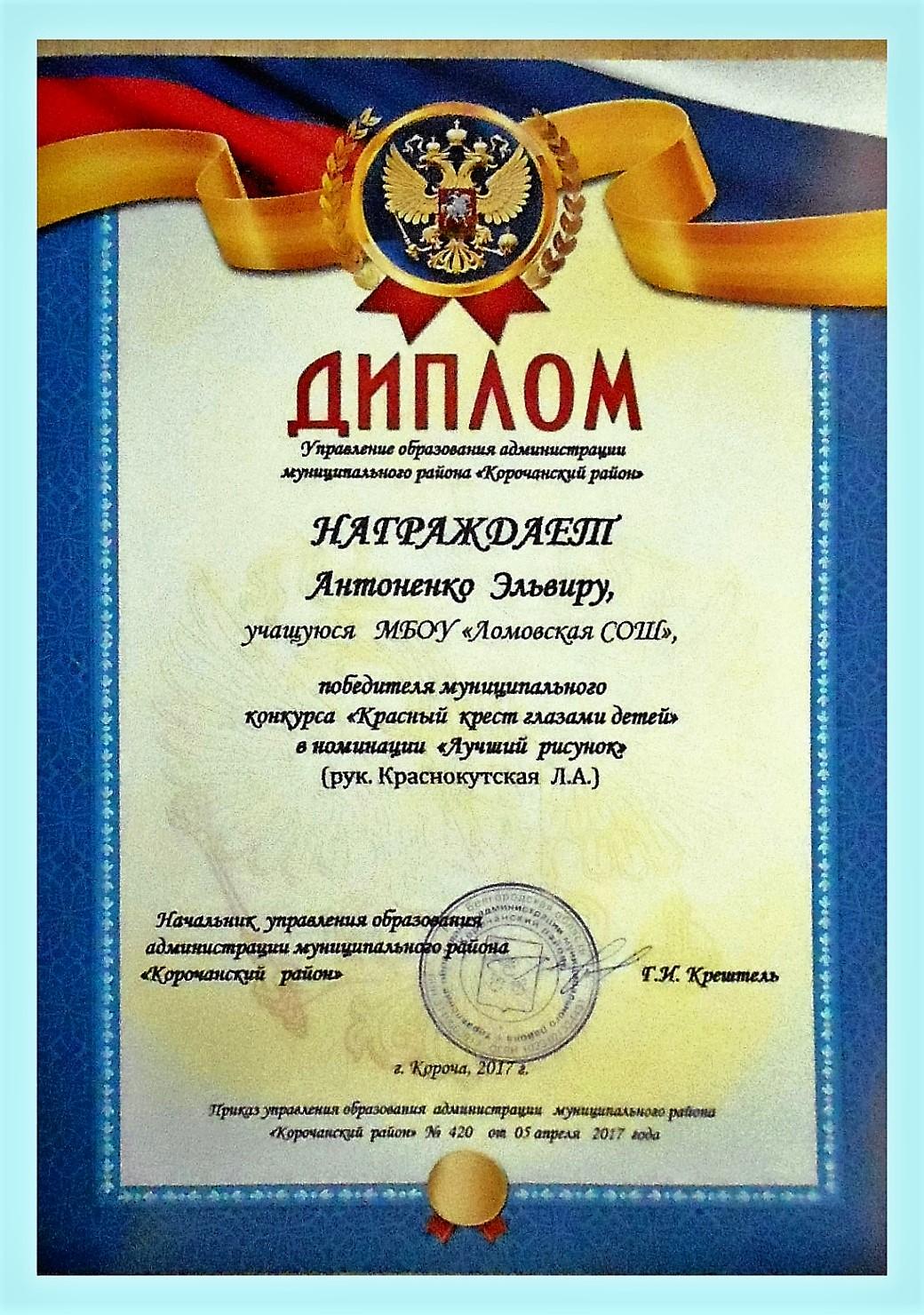 Диплом призёра конкурса